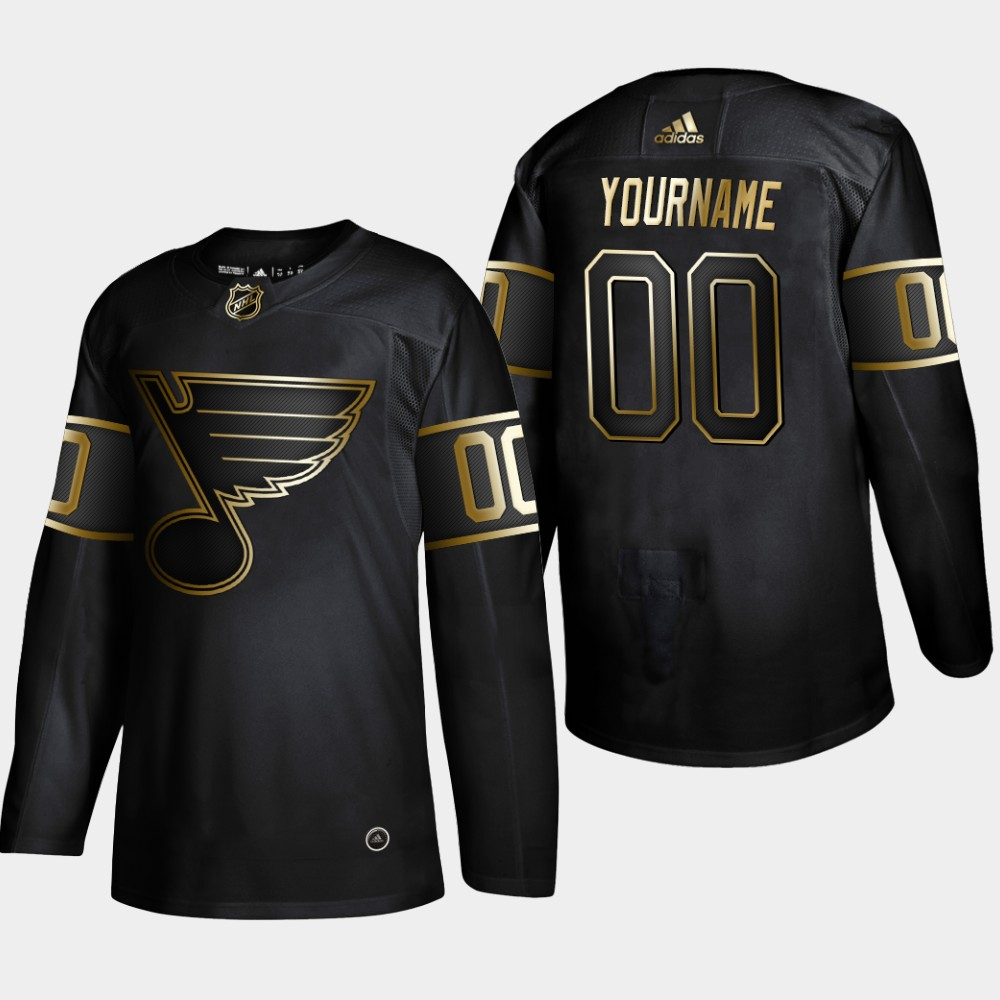 Blues Customized Black Gold Adidas Jersey