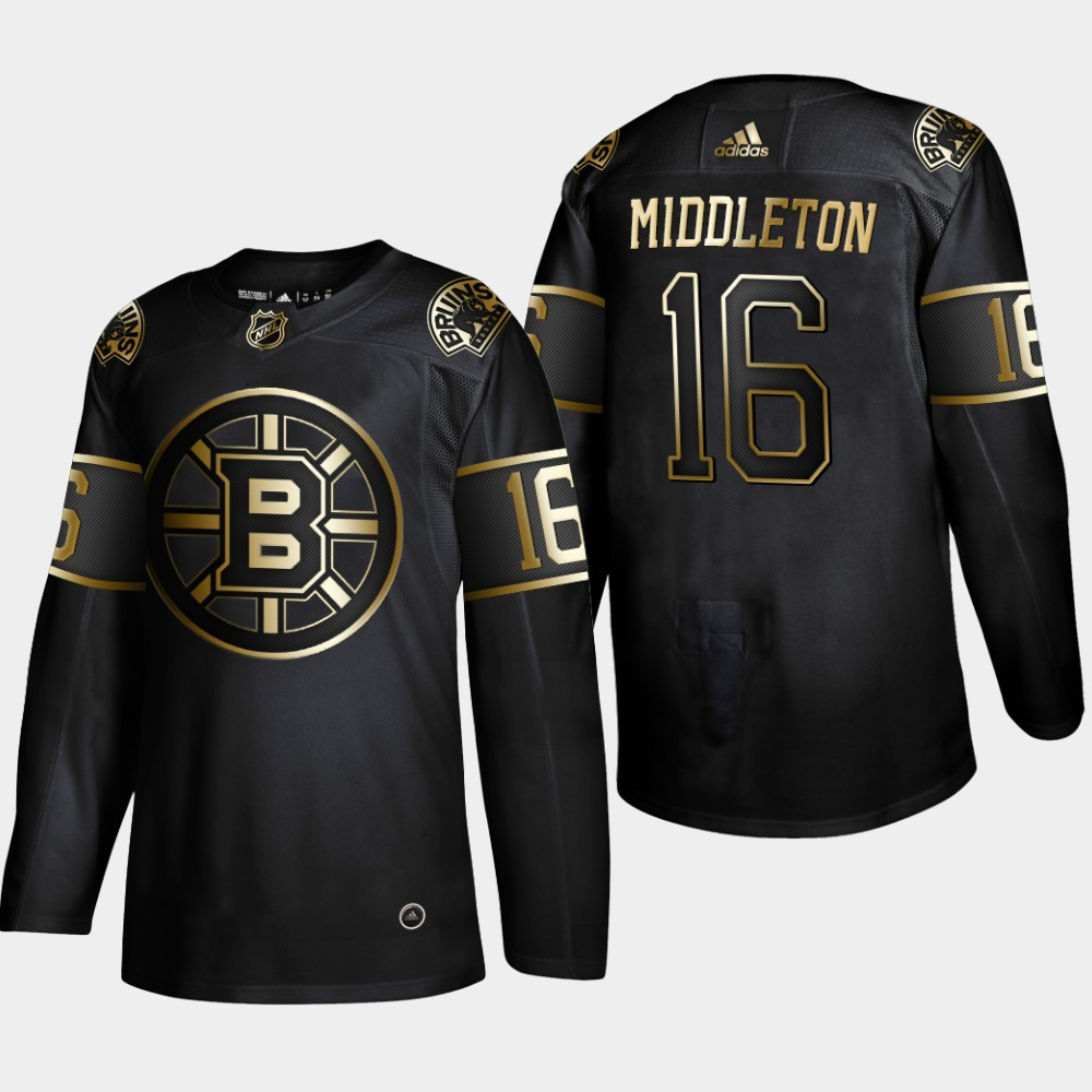 Bruins 16 Rick Middleton Black Gold Adidas Jersey