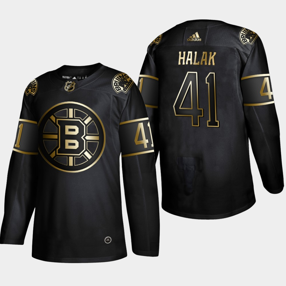 Bruins 41 Jaroslav Halak Black Gold Adidas Jersey