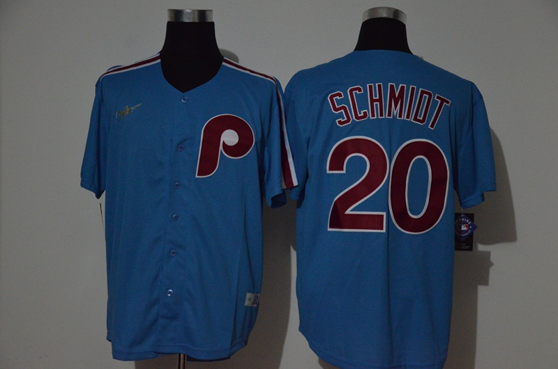 Phillies 20 Mike Schmidt Blue Nike Cooperstown Collection Jersey