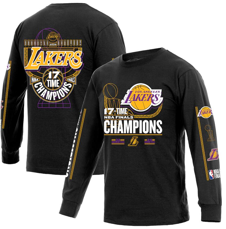 Men's Los Angeles Lakers Black 17 Time NBA Finals Champions Long Sleeve T-Shirt