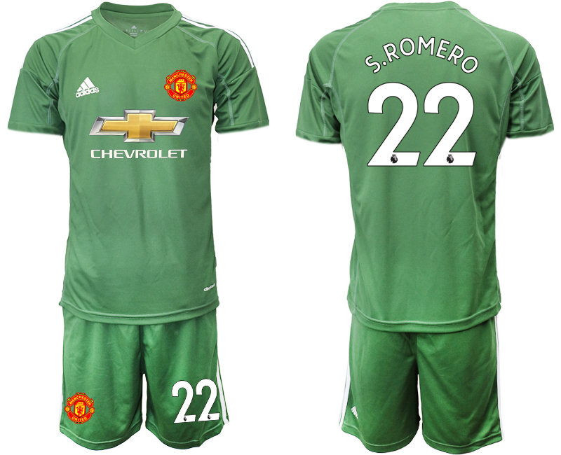 2020-21 Manchester United 22 S.ROMERO Army Green Goalkeeper Soccer Jersey