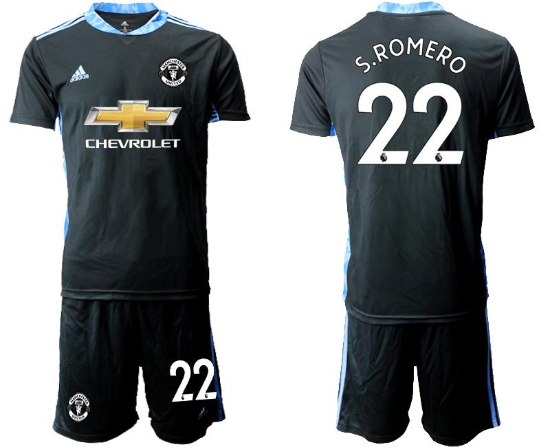 2020-21 Manchester United 22 S.ROMERO Black Goalkeeper Soccer Jersey