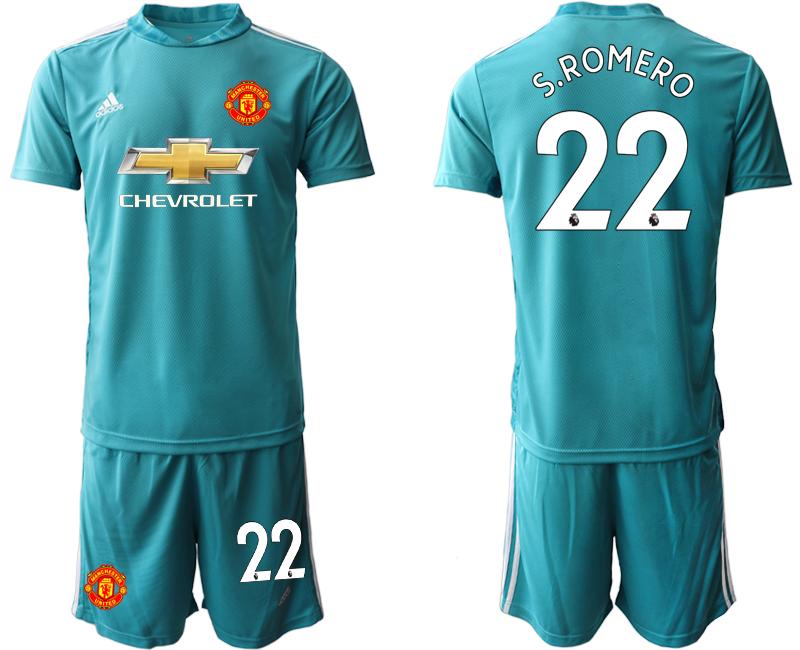 2020-21 Manchester United 22 S.ROMERO Blue Goalkeeper Soccer Jersey