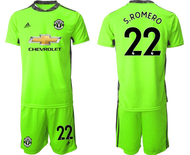 2020-21 Manchester United 22 S.ROMERO Fluorescent Green Goalkeeper Soccer Jersey