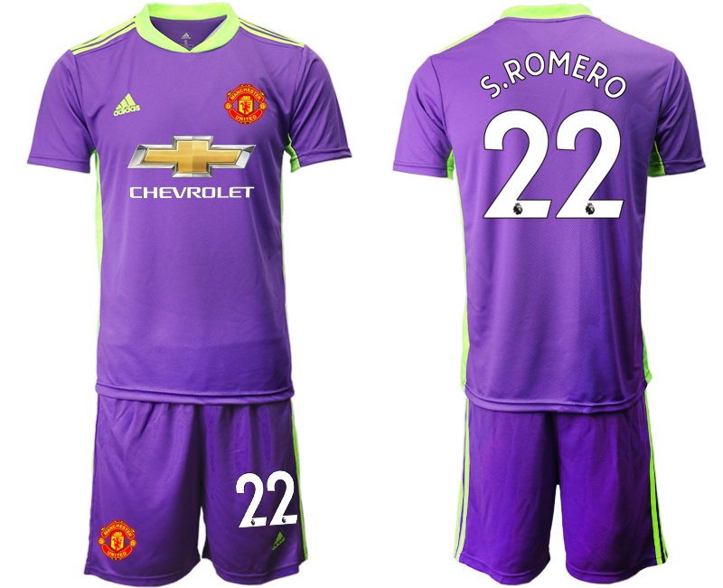 2020-21 Manchester United 22 S.ROMERO Purple Goalkeeper Soccer Jersey