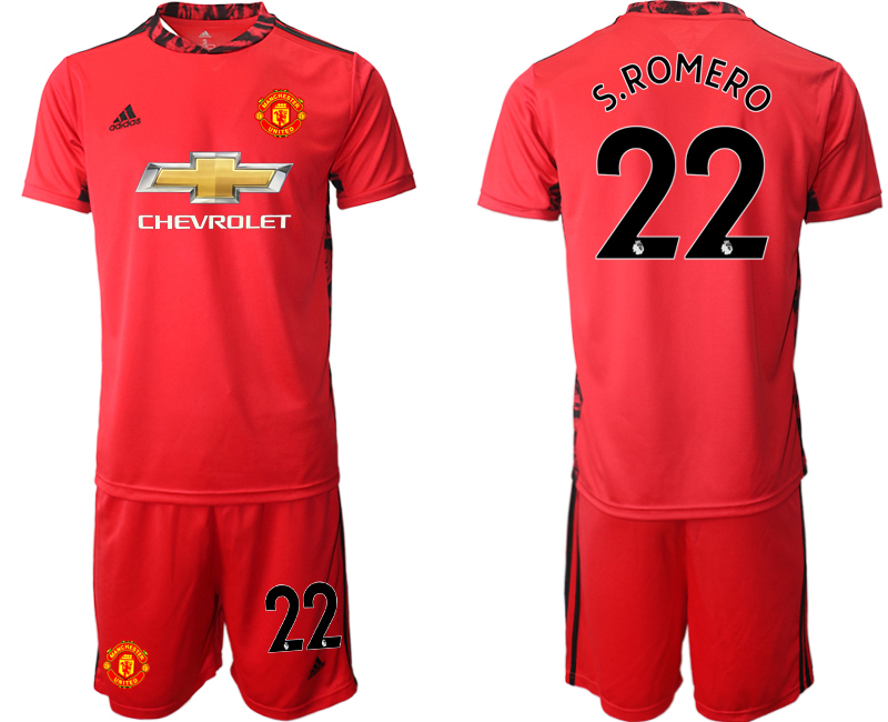 2020-21 Manchester United 22 S.ROMERO Red Goalkeeper Soccer Jersey