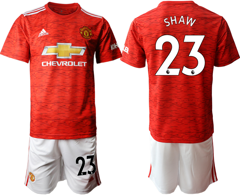 2020-21 Manchester United 23 SHAW Home Soccer Jersey