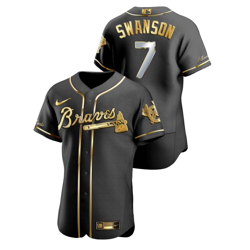 Braves 7 Dansby Swanson Black Gold 2020 Nike Flexbase Jersey