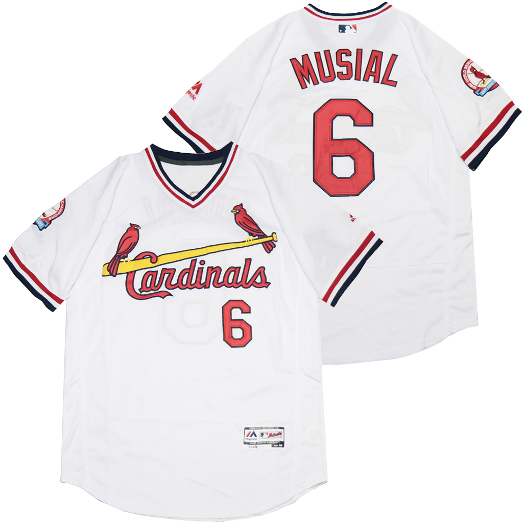 Cardinals 6 Stan Musial White Flexbase Jersey