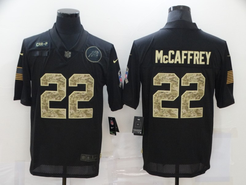 Nike Panthers 22 Christian McCaffrey Black Camo 2020 Salute To Service Limited Jersey