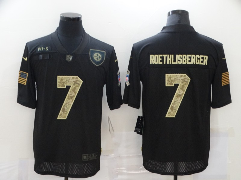 Nike Steelers 7 Ben Roethlisberger Black Camo 2020 Salute To Service Limited Jersey