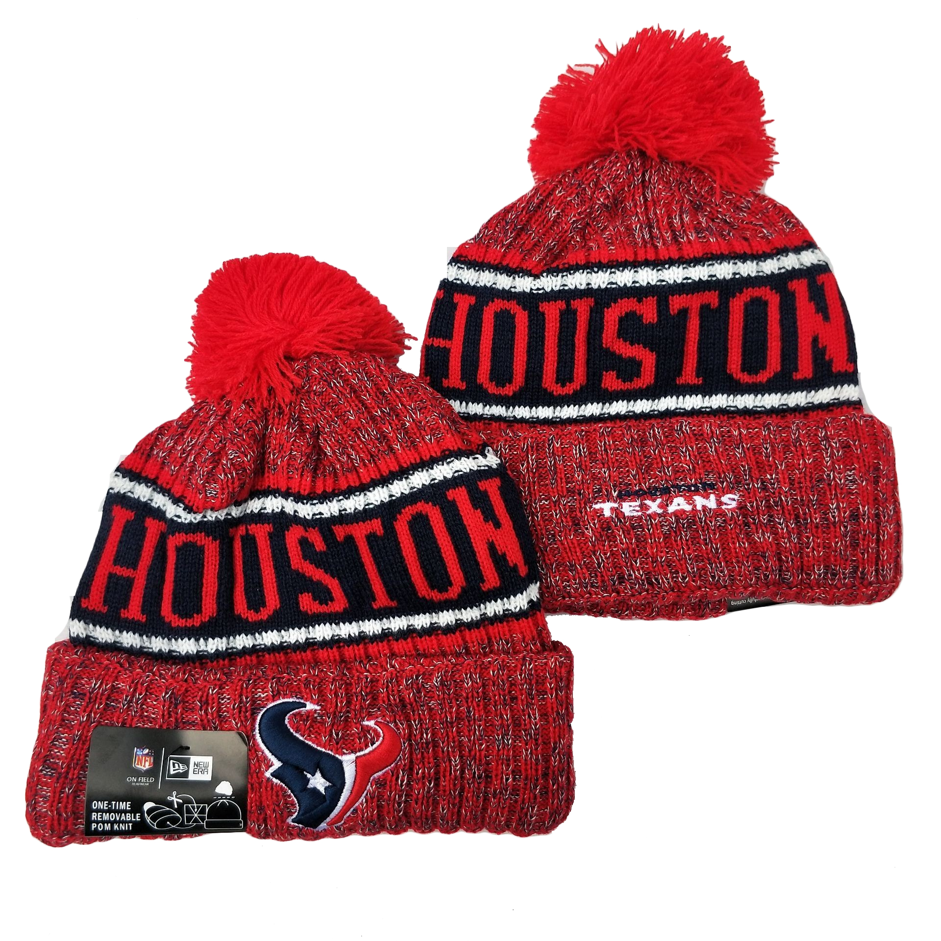 Texans Team Logo Red Red Pom Knit Hat YD