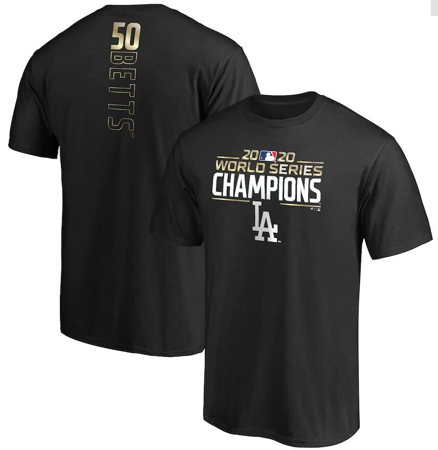 Men's Los Angeles Dodgers Mookie Betts Fanatics Branded Black 2020 World Series Champions Name & Number T-Shirt