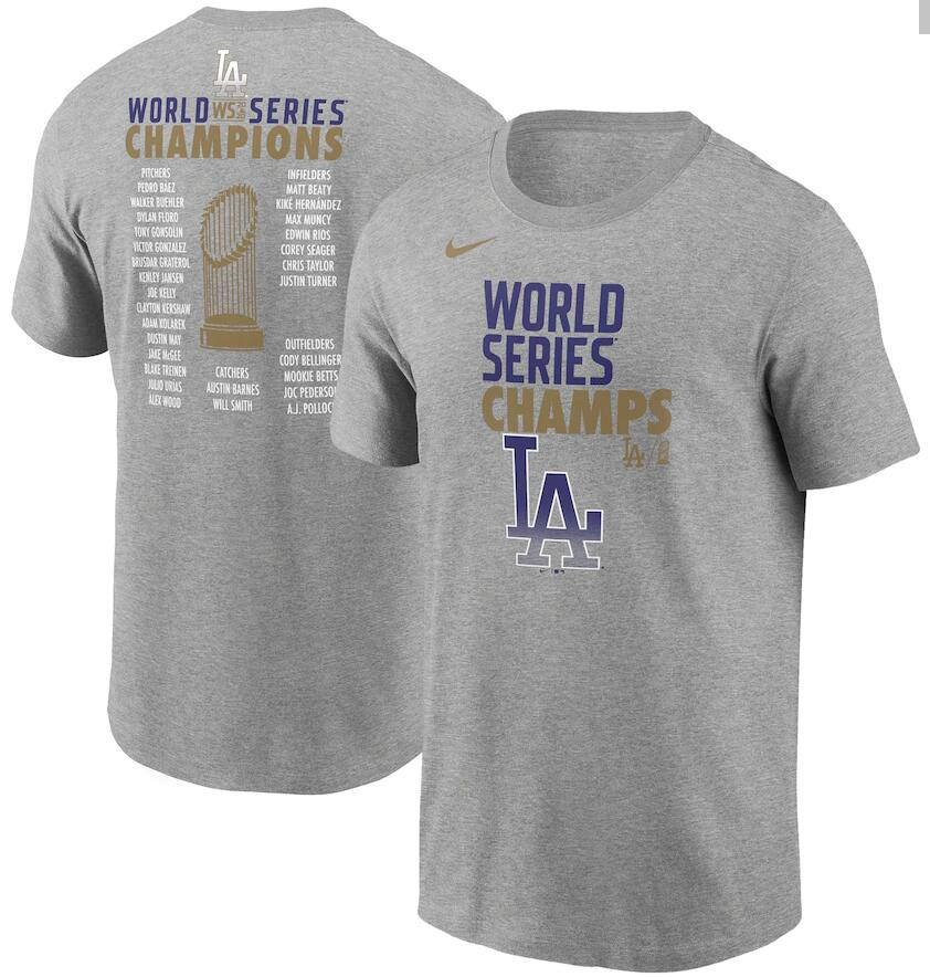 Men's Los Angeles Dodgers Nike Heather Gray 2020 World Series Champions Roster T-Shirt