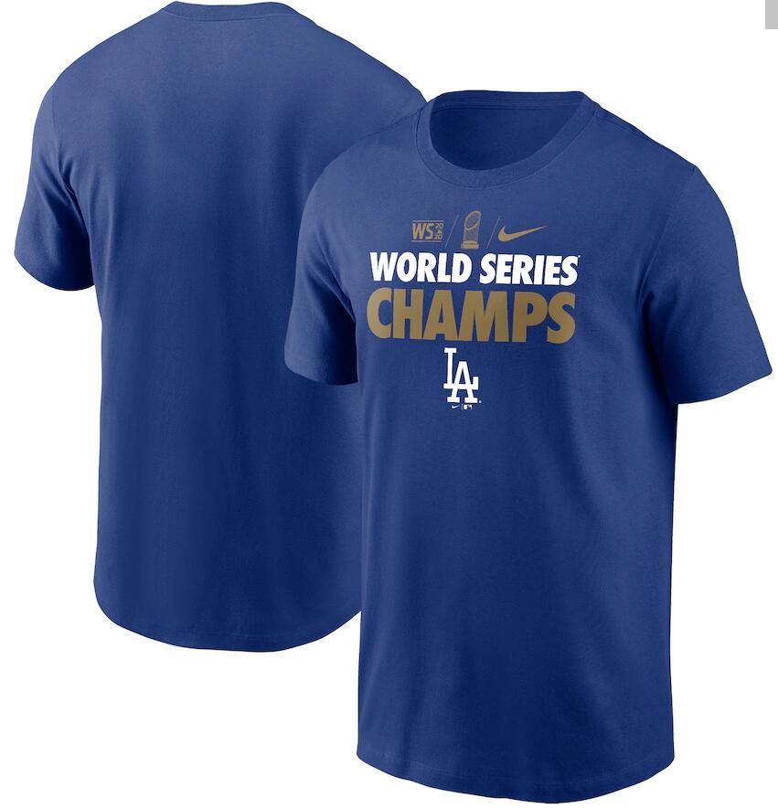 Men's Los Angeles Dodgers Nike Royal 2020 World Series Champions Gold T-Shirt