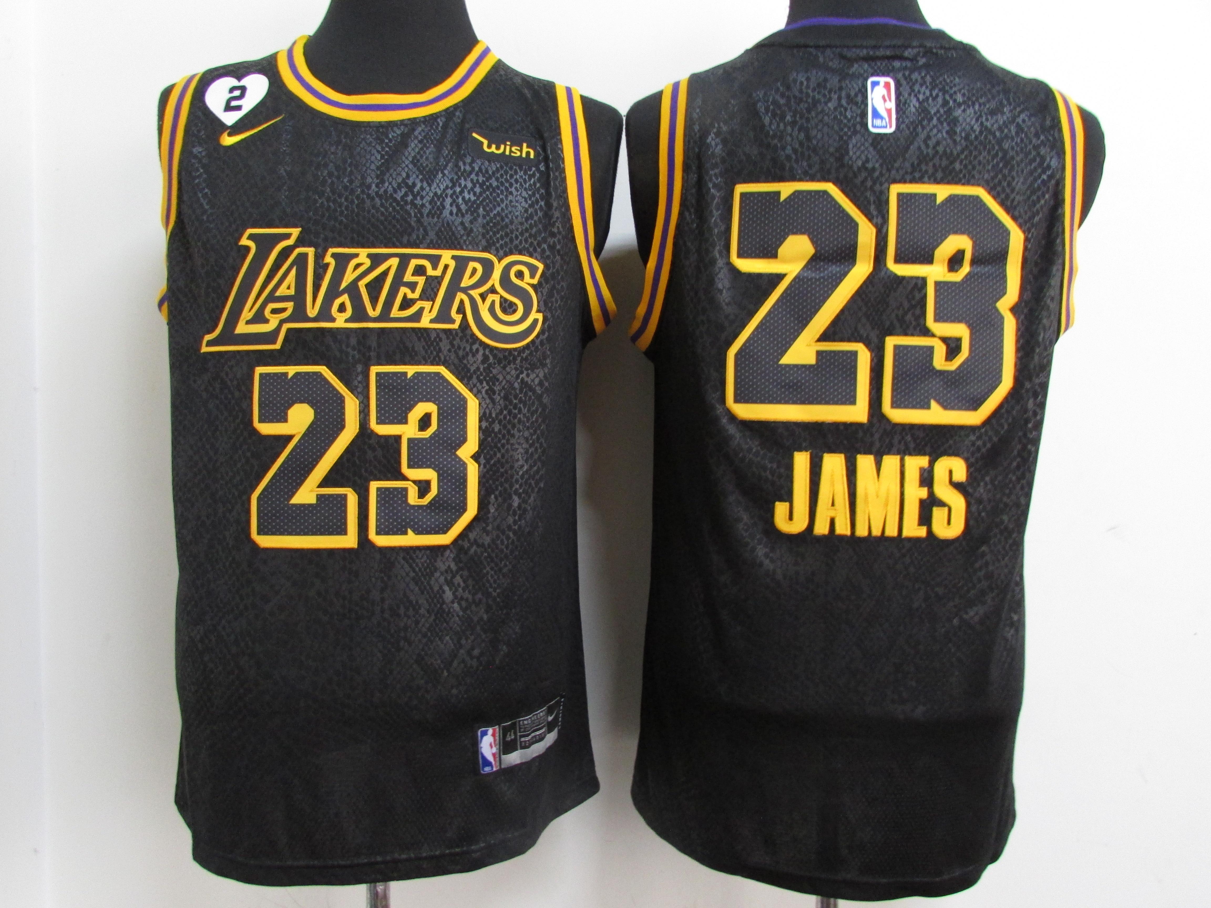 Lakers 23 Lebron James Black Mamba 2 Heart Gigi Patch Nike Swingman Jersey