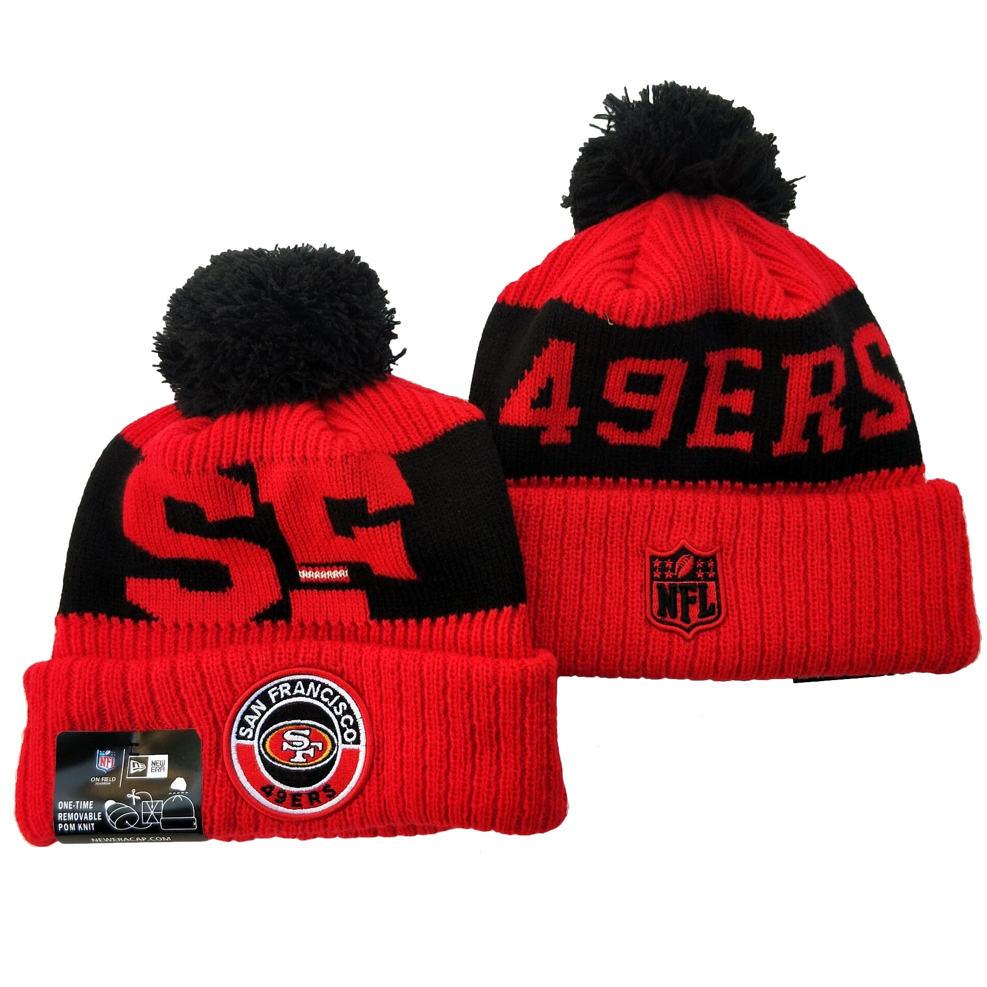 49ers Team Logo Red 2020 NFL Sideline Pom Cuffed Knit Hat YD
