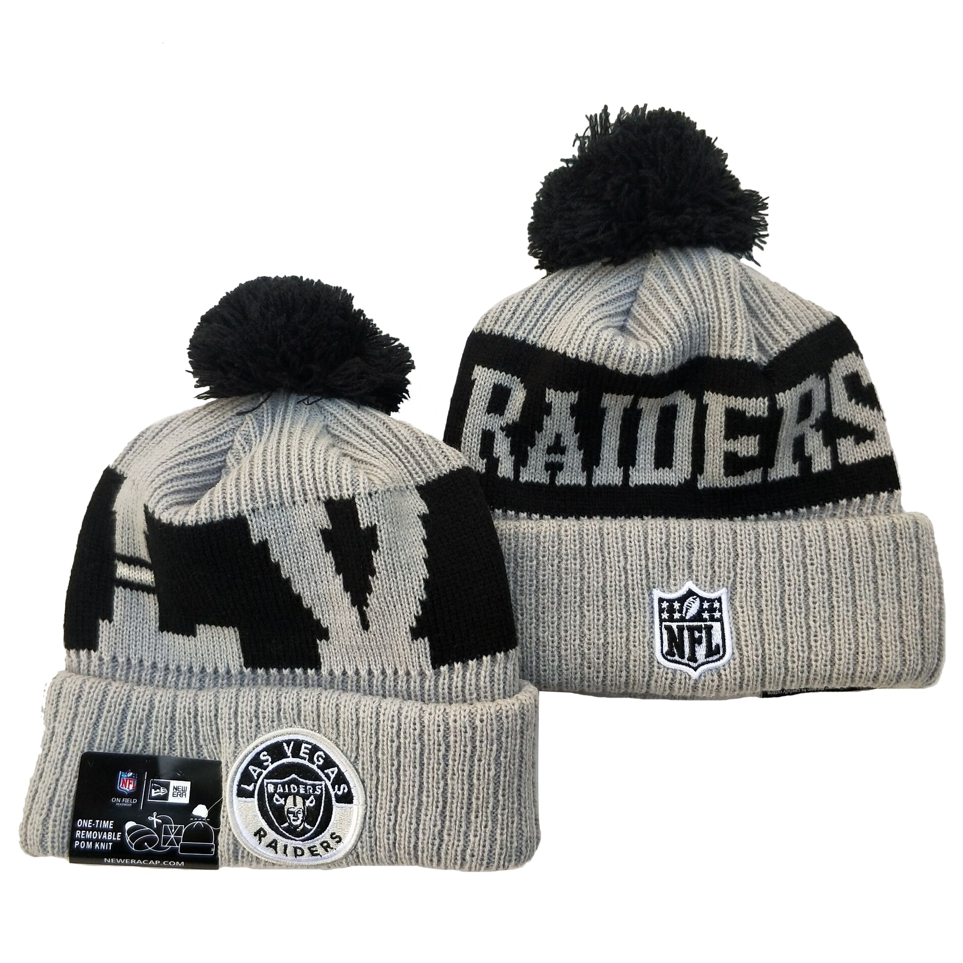 Raiders Team Logo Gray 2020 NFL Sideline Pom Cuffed Knit Hat YD
