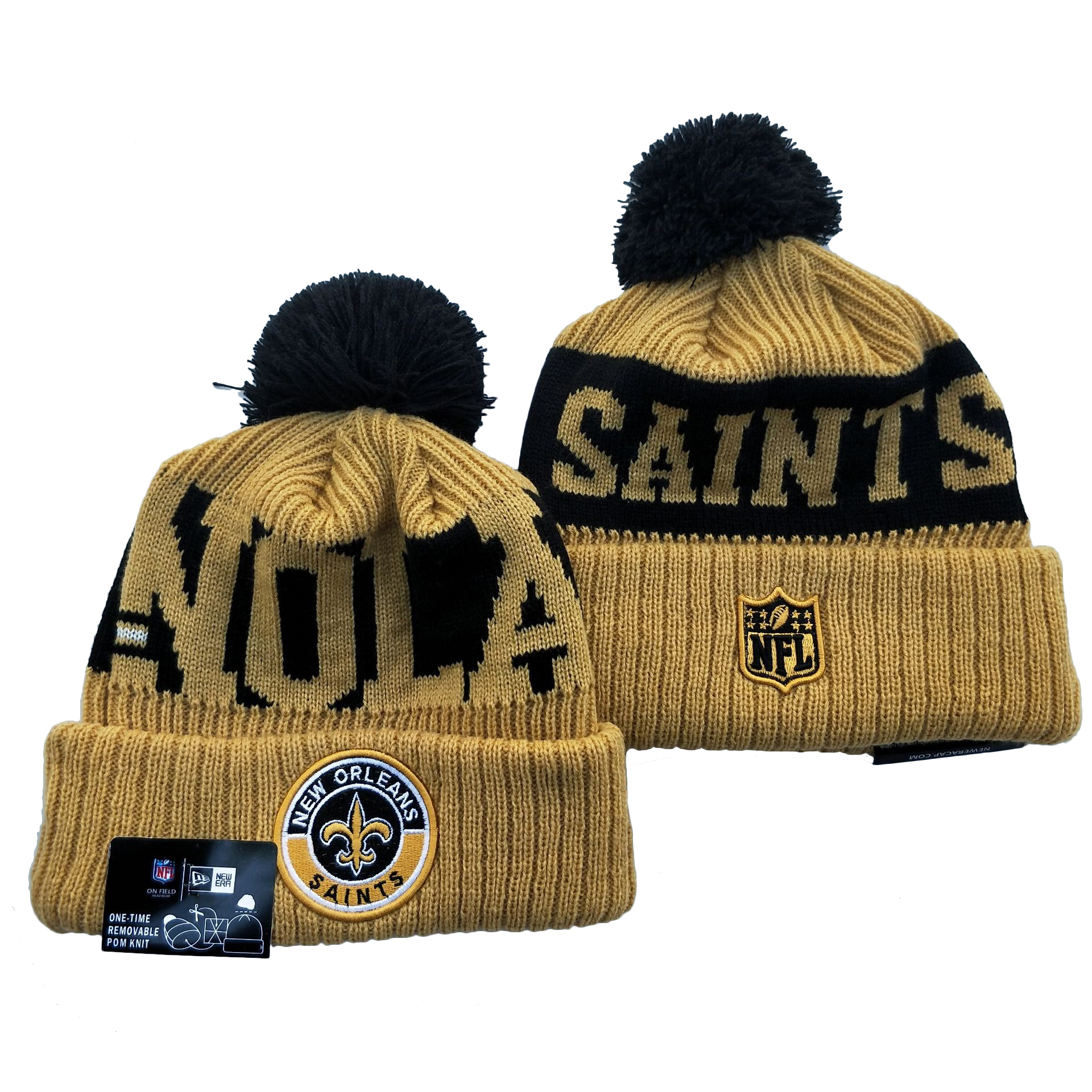 Saints Team Logo Cream 2020 NFL Sideline Pom Cuffed Knit Hat YD