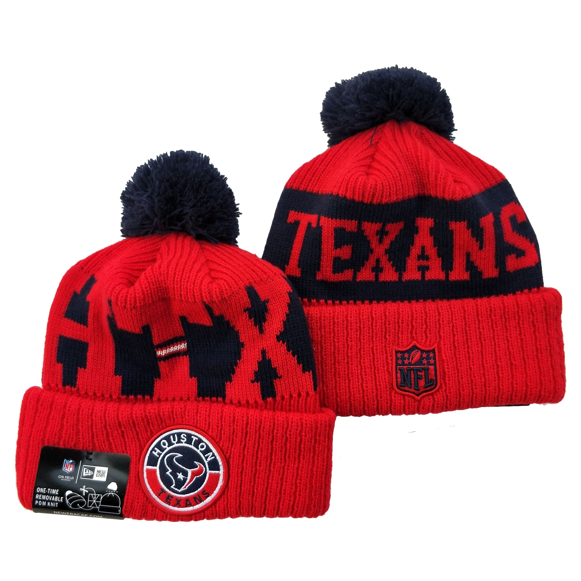 Texans Team Logo Red 2020 NFL Sideline Pom Cuffed Knit Hat YD