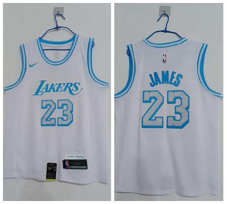 Lakers 23 Lebron James White 2020-21 City Edition Nike Swingman Jersey