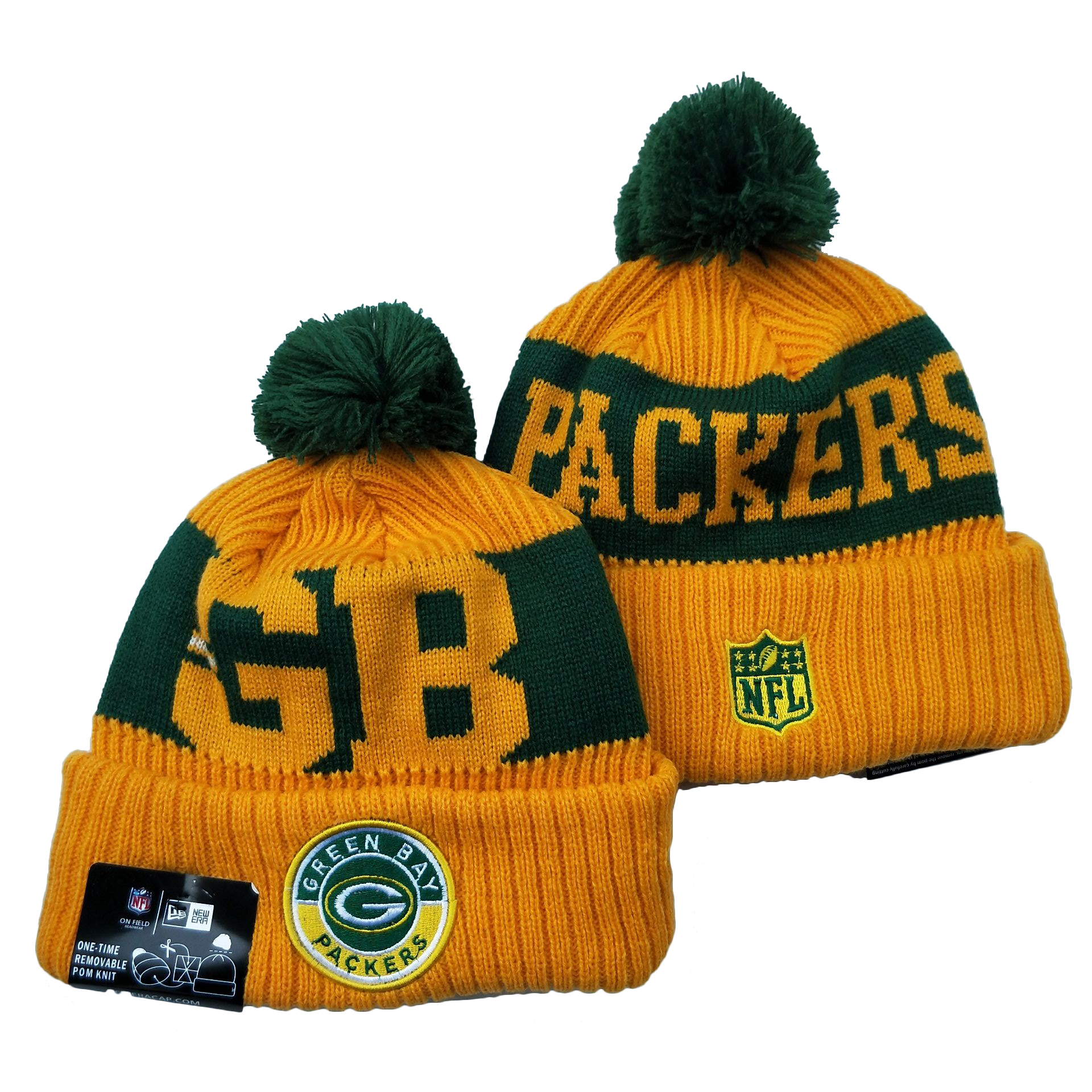 Packers Team Logo Yellow 2020 NFL Sideline Pom Cuffed Knit Hat YD