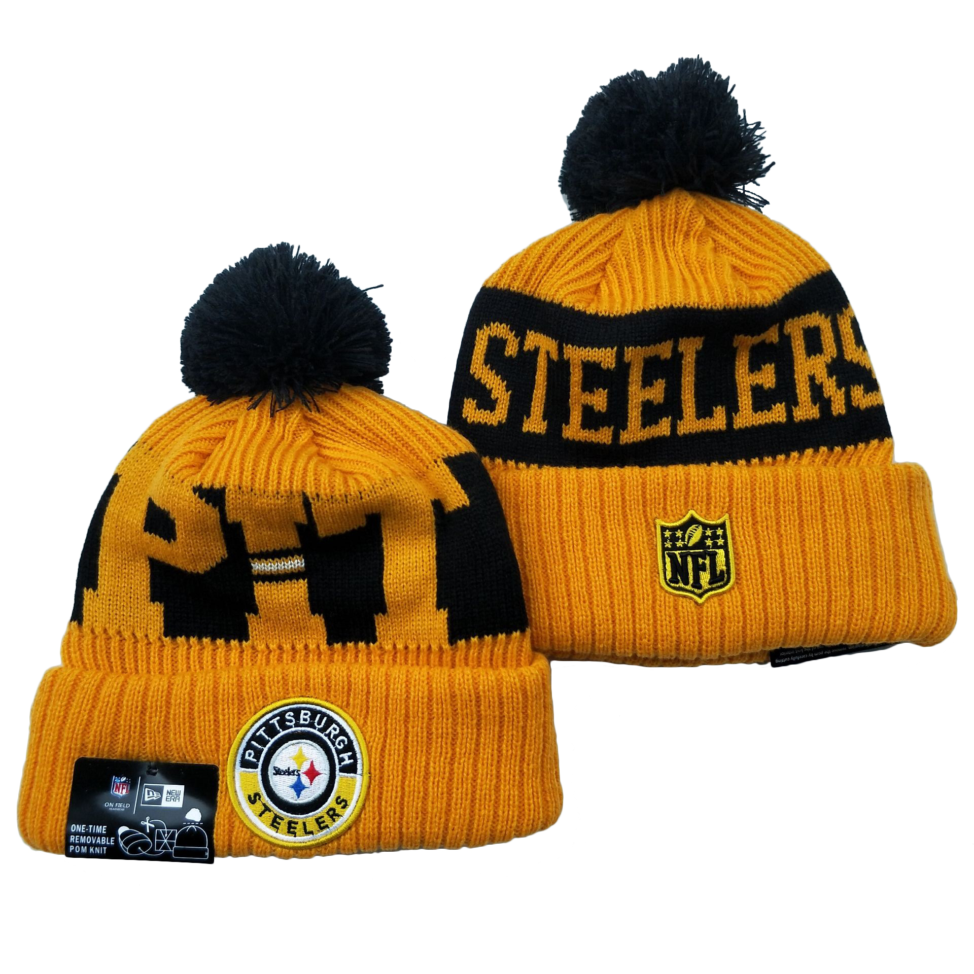 Steelers Team Logo Yellow 2020 NFL Sideline Pom Cuffed Knit Hat YD