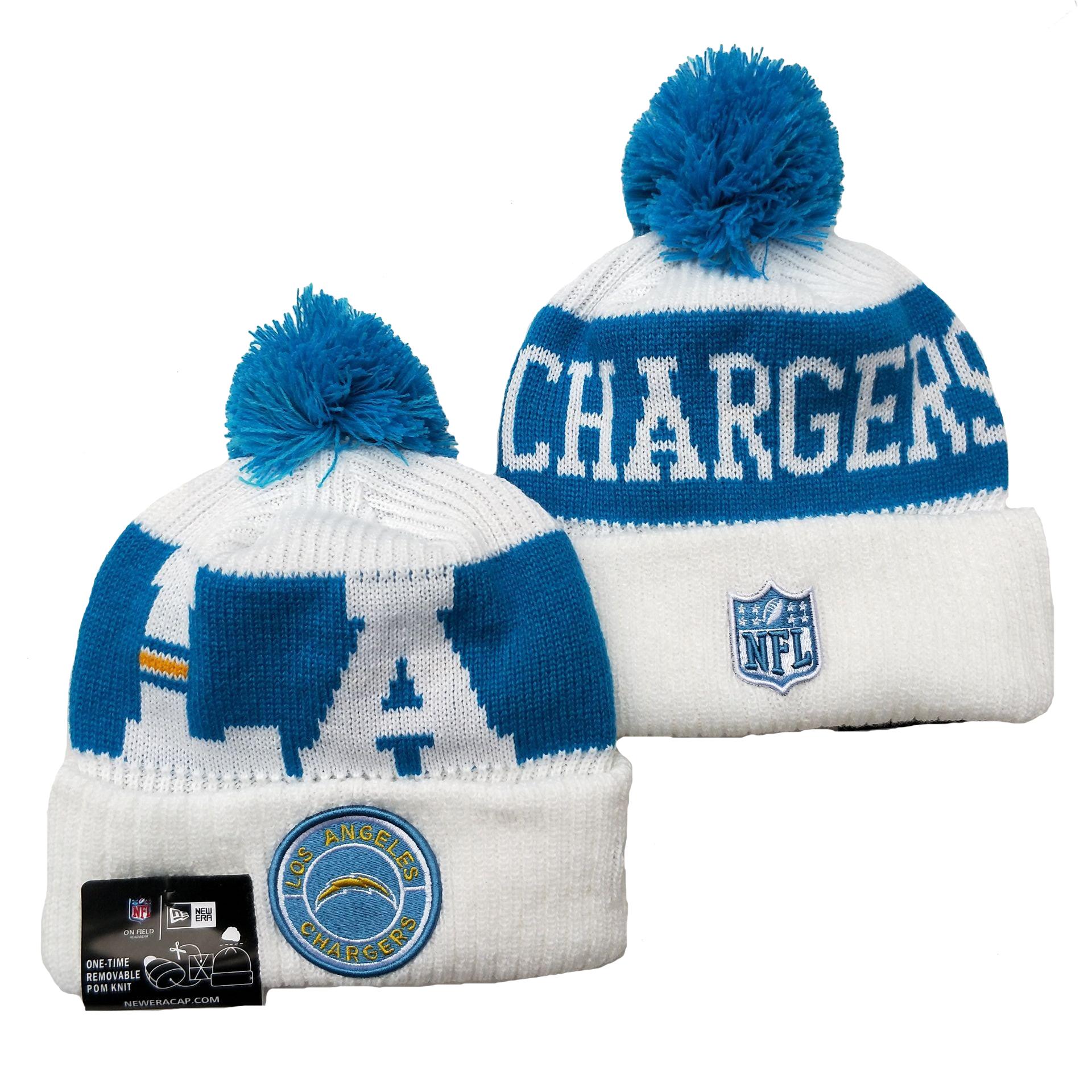 Chargers Team Logo White Blue 2020 NFL Sideline Pom Cuffed Knit Hat YD