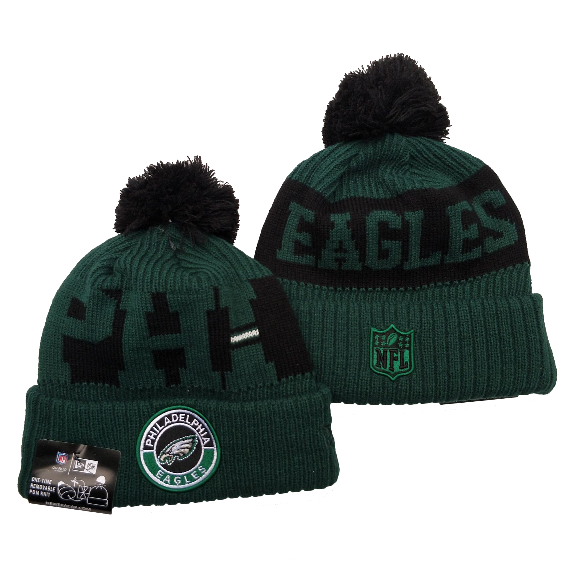 Eagles Team Logo Green 2020 NFL Sideline Pom Cuffed Knit Hat YD