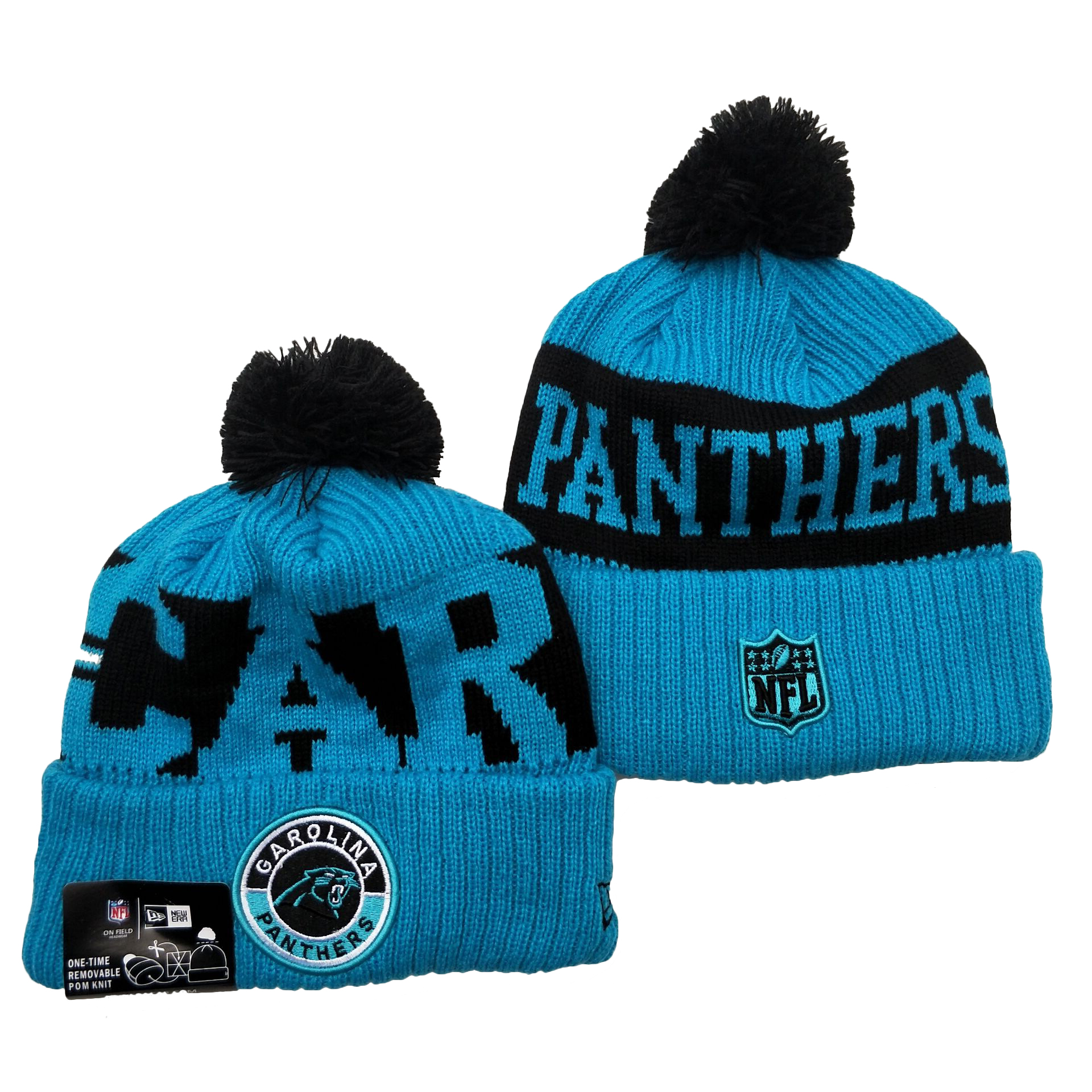 Panthers Team Logo Blue 2020 NFL Sideline Pom Cuffed Knit Hat YD
