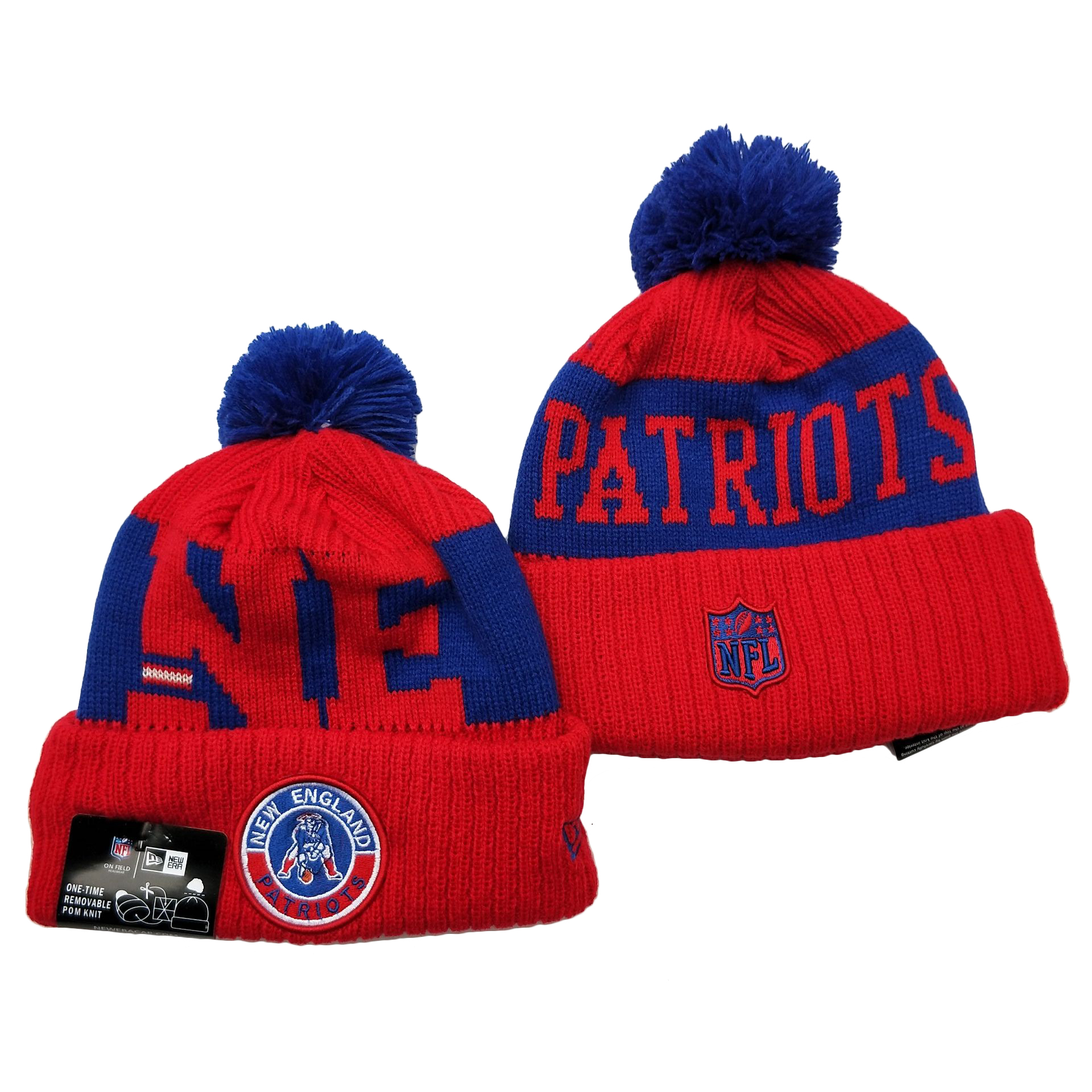 Patriots Team Logo Red 2020 NFL Sideline Pom Cuffed Knit Hat YD