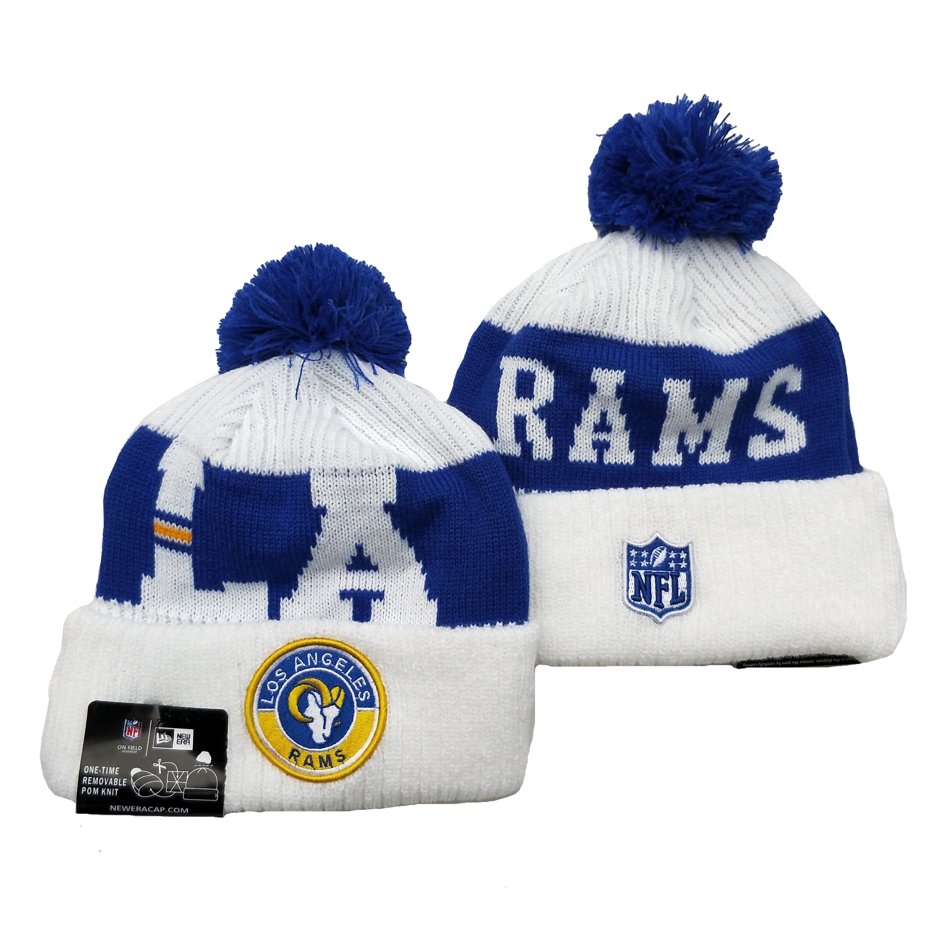 Rams Team Logo White 2020 NFL Sideline Pom Cuffed Knit Hat YD