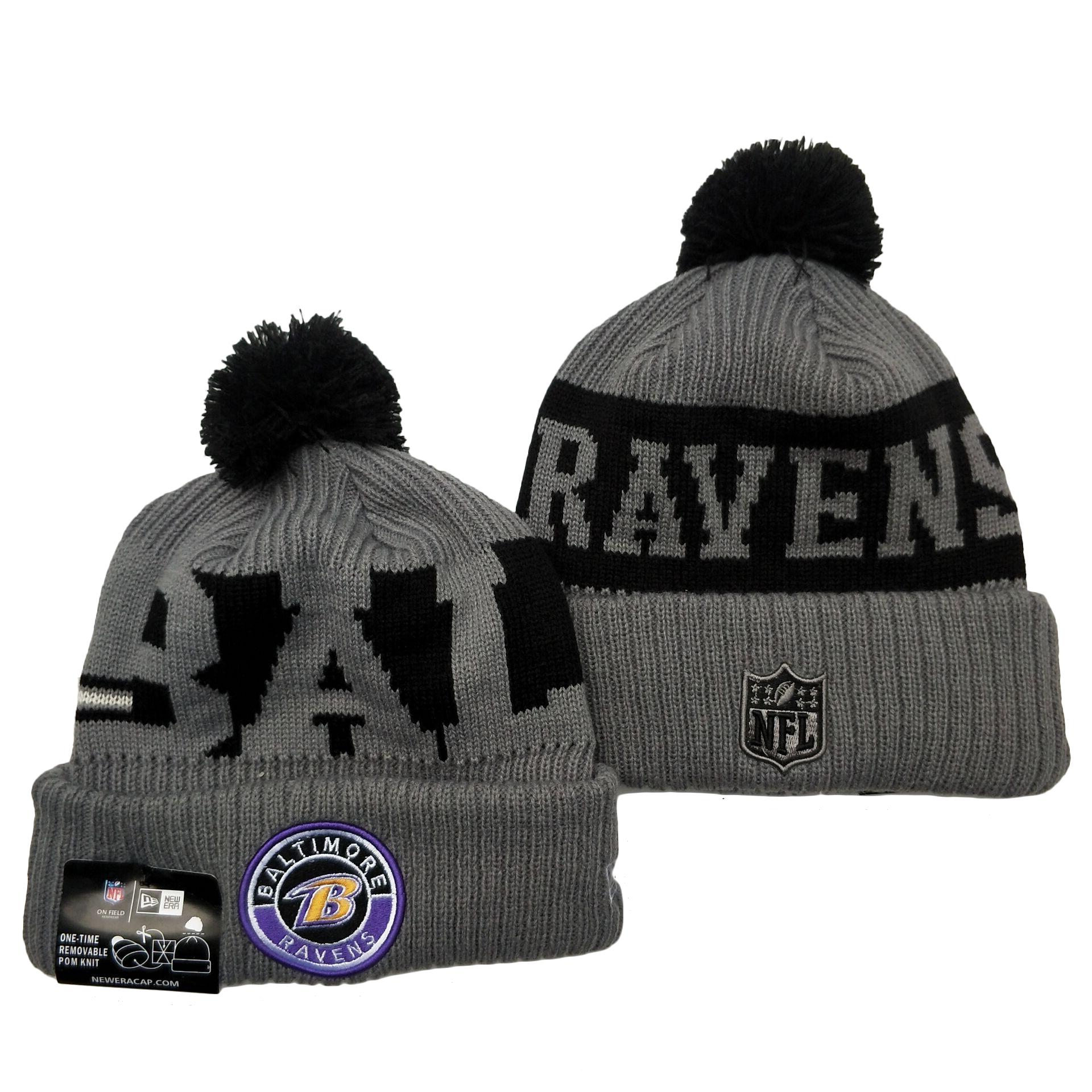 Ravens Team Logo Gray 2020 NFL Sideline Pom Cuffed Knit Hat YD