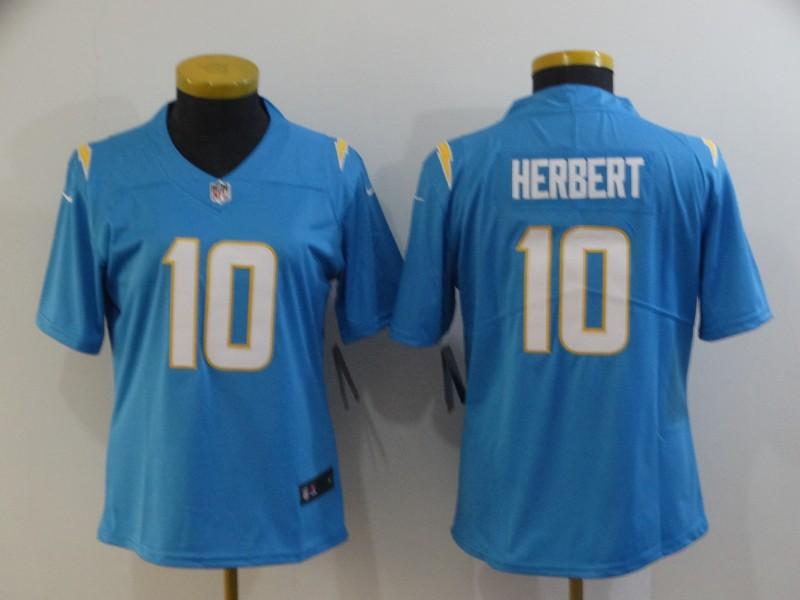 Nike Chargers 10 Justin Herbert Light Blue Women Vapor Untouchable Limited Jersey