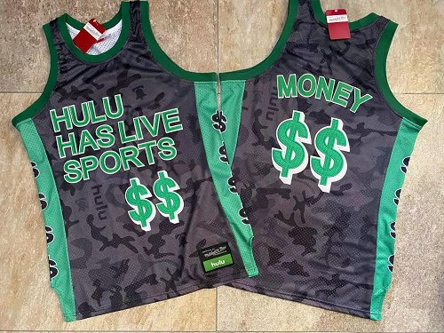 Hulu Has Live Sports Black $$ Money Stitched Basketball Jersey