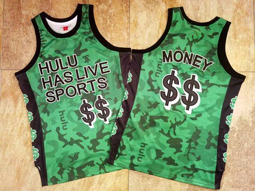 Hulu Has Live Sports Green $$ Money Stitched Basketball Jersey