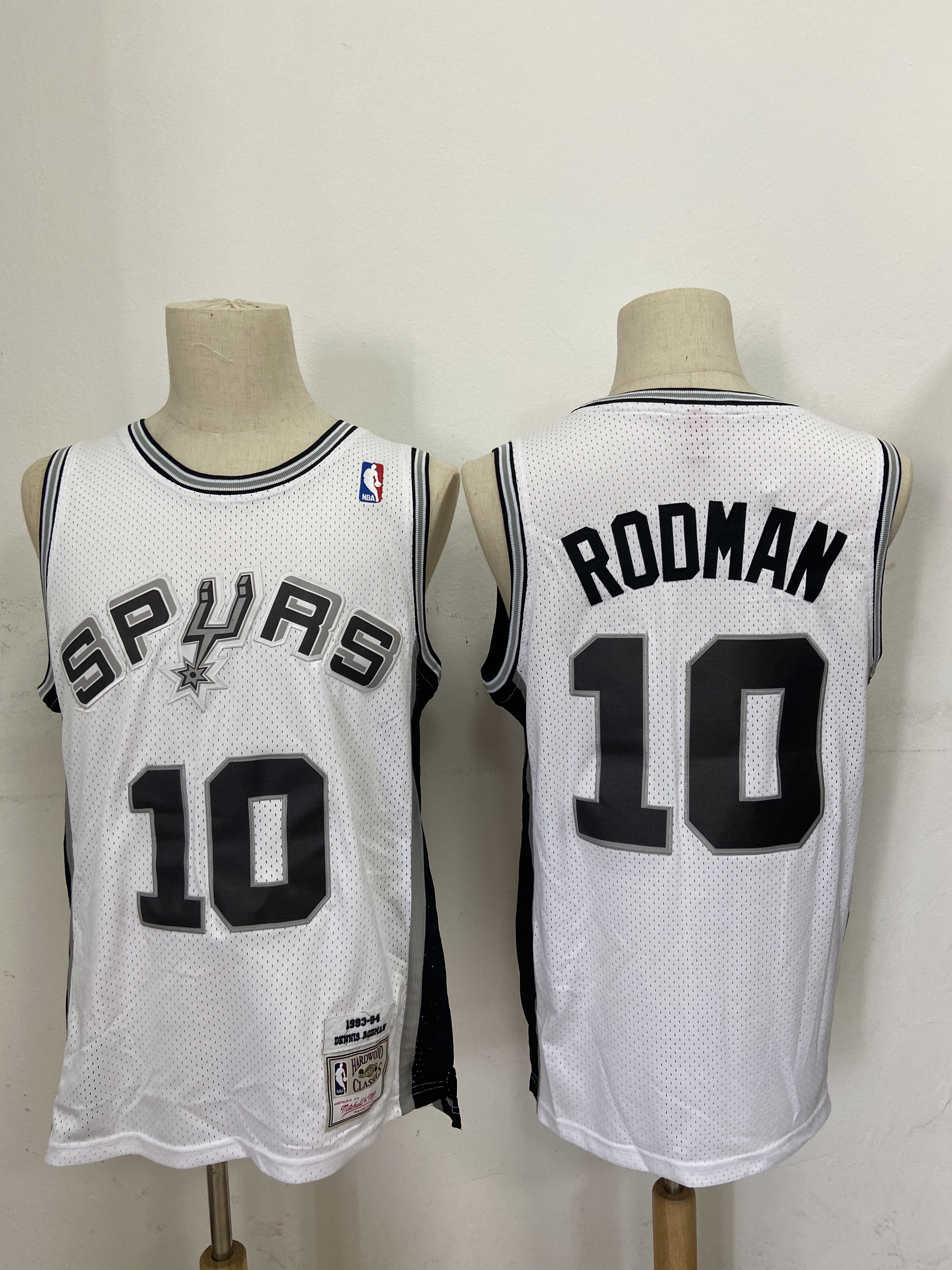 Spurs 10 Dennis Rodman White 1993-94 Hardwood Classics Jersey