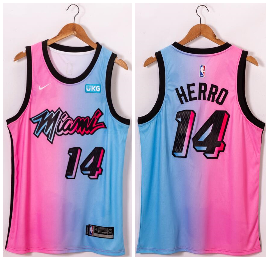 Heat 14 Tyler Herro Blue Pink Nike 2021 City Edition Swingman Jersey