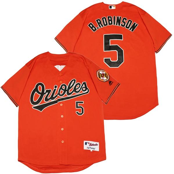 Orioles 5 Brooks Robinson Orange Cool Base Jersey
