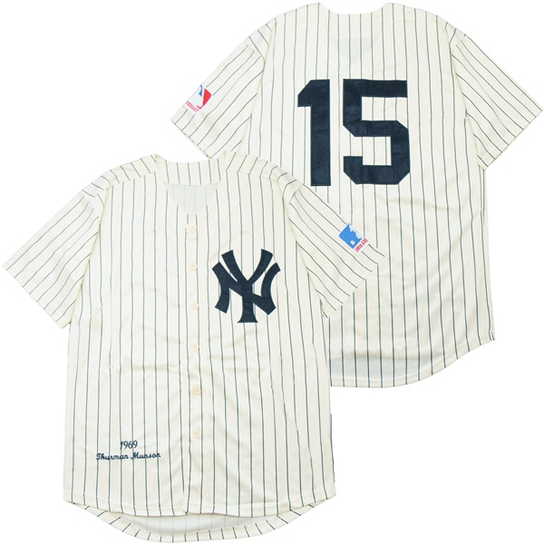 Yankees 15 Thurman Munson Cream 1969 Throwback Jersey