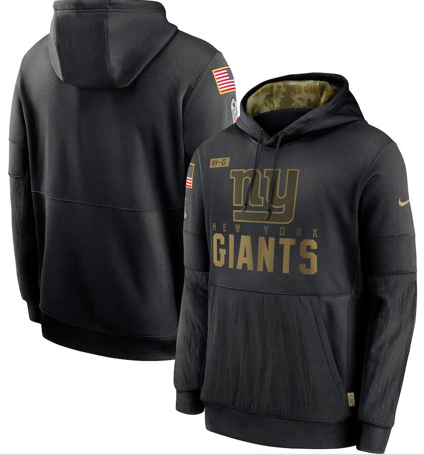 Men's New York Giants Nike Black 2020 Salute to Service Sideline Performance Pullover Hoodie