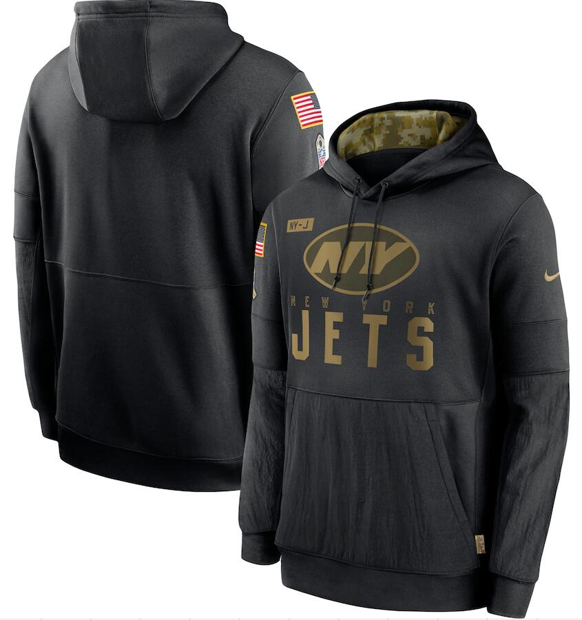 Men's New York Jets Nike Black 2020 Salute to Service Sideline Performance Pullover Hoodie