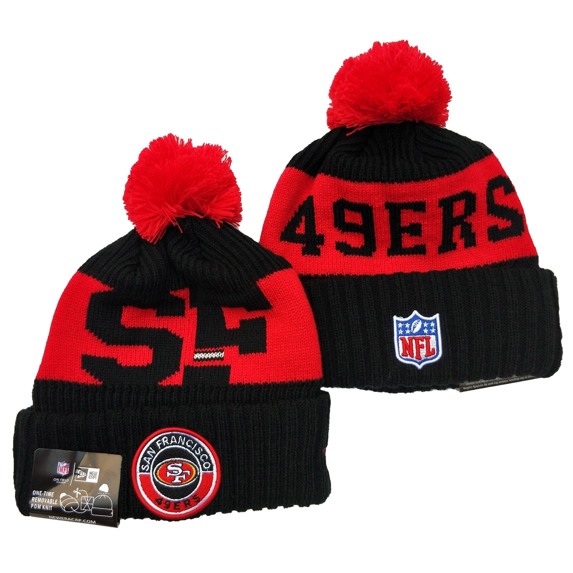 49ers Team Logo Black Red 2020 NFL Sideline Pom Cuffed Knit Hat YD