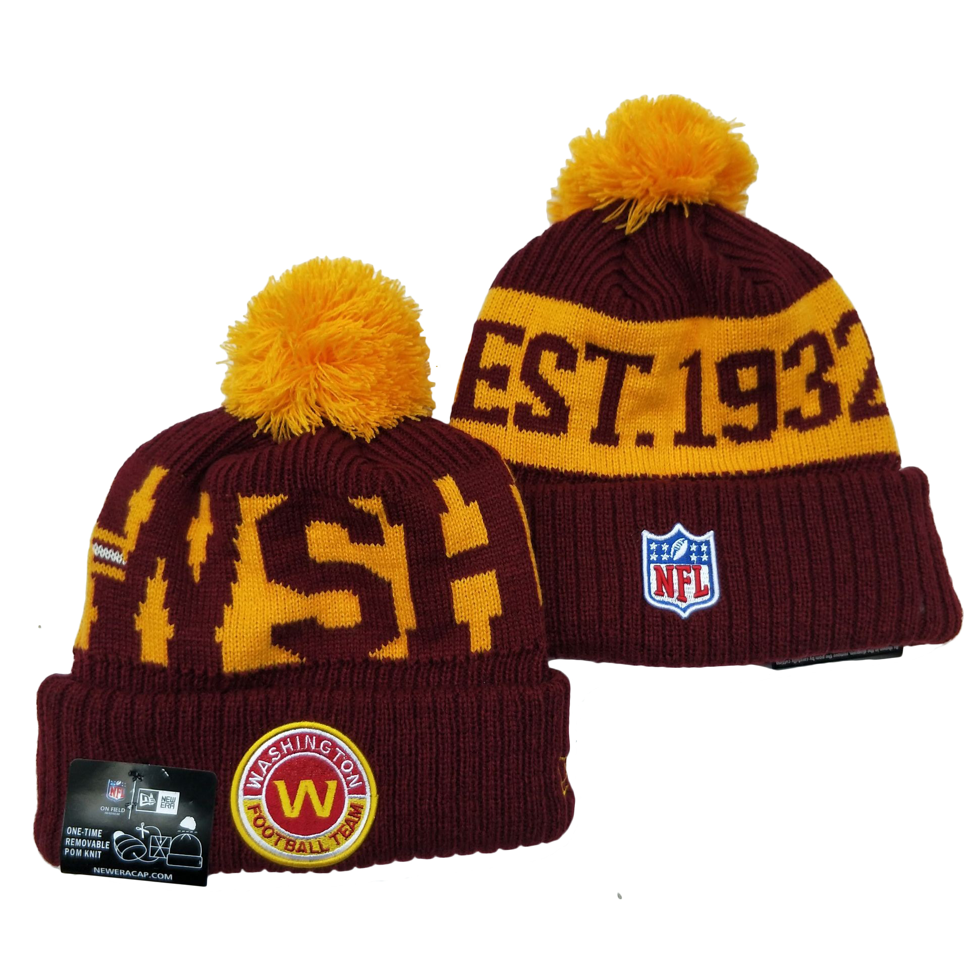 Washington Football Team Team Logo Red 2020 NFL Sideline Pom Cuffed Knit Hat YD