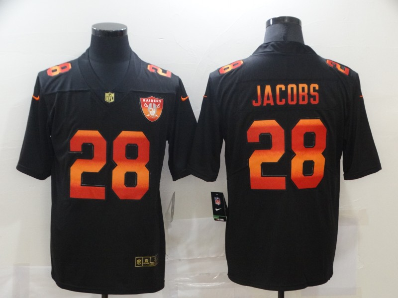 Nike Raiders 28 Josh Jacobs Black Colorful Fashion Limited Jersey