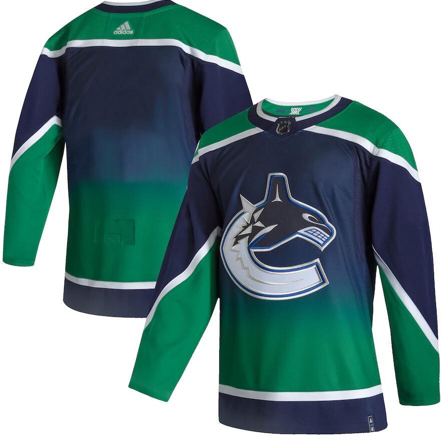 Canucks Blank Green 2020-21 Reverse Retro Adidas Jersey