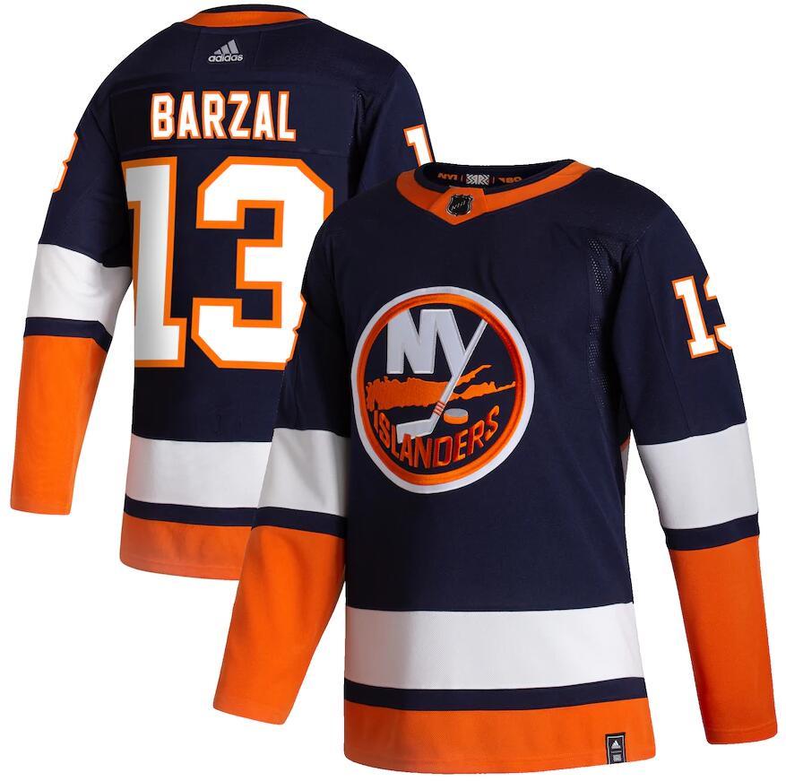 Islanders 13 Mathew Barzal Navy 2020-21 Reverse Retro Adidas Jersey