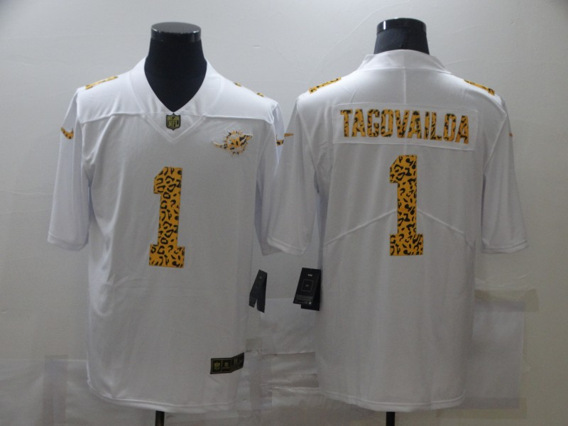 Nike Dolphins 1 Tua Tagovailoa White Leopard Vapor Untouchable Limited Jersey
