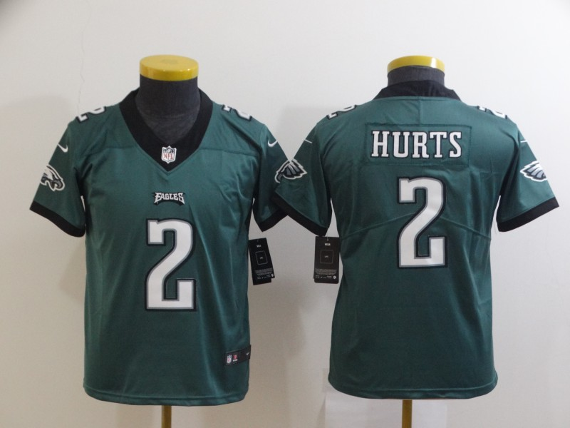 Nike Eagles 2 Jalen Hurts Green Youth Vapor Untouchable Limited Jersey